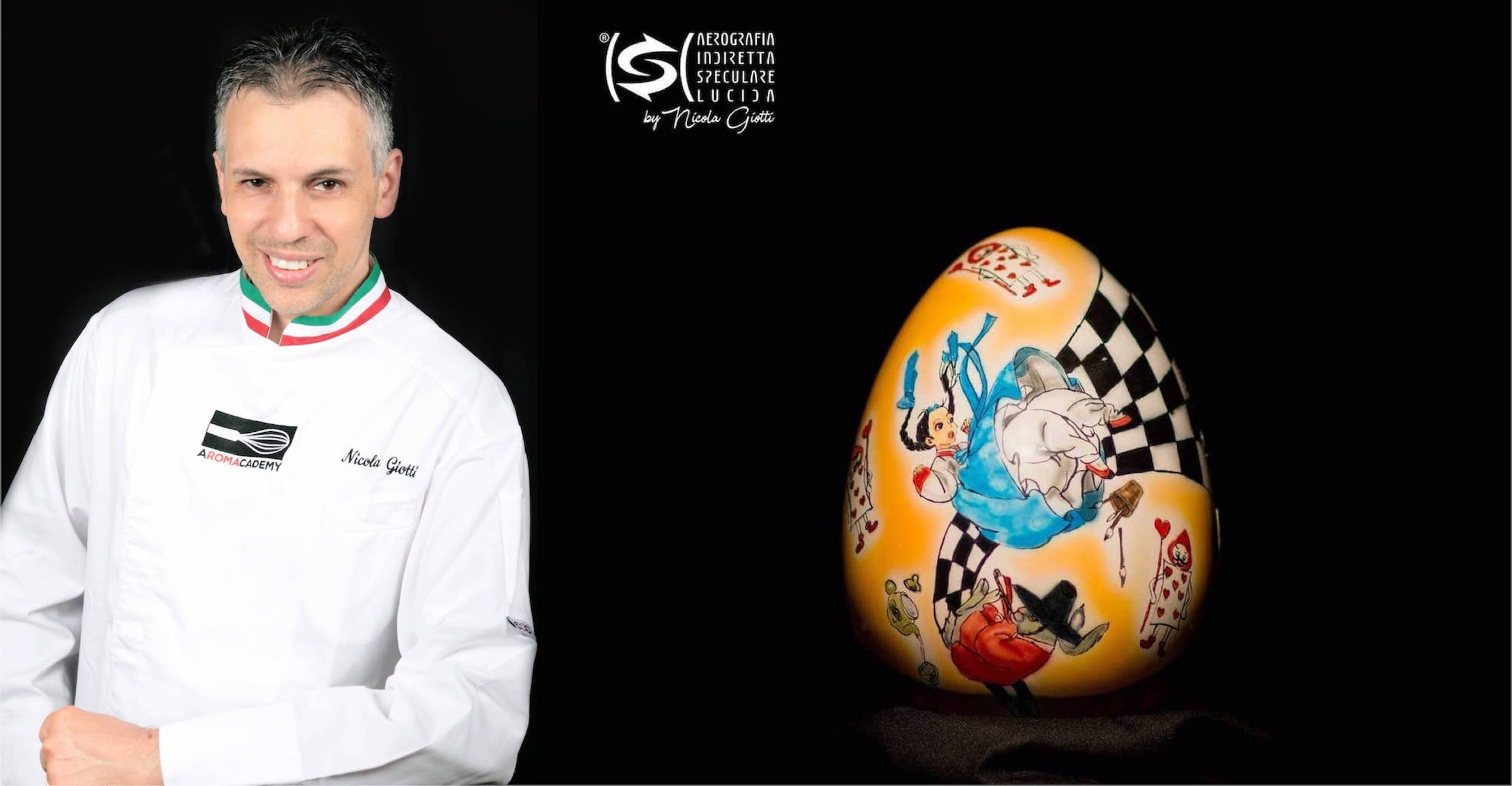 Nicola Giotti, maestro pasticcere e cioccolatiere a Giovinazzo (Bari) con una delle sue uova ad Areografia speculare indiretta lucida