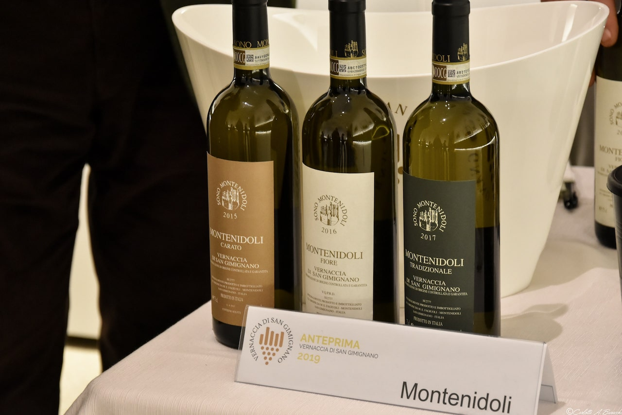 I vini proposti in assaggio da Montenidoli, Anteprima Vernaccia di San Gimignano 2019