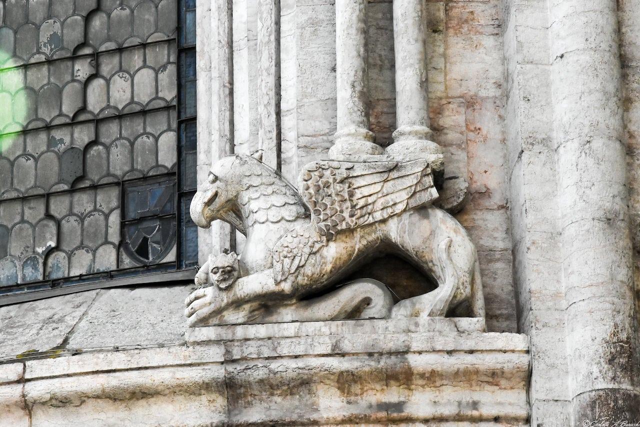 Grifone scolpito nell'abside del Duomo di San Vigilio a Trento