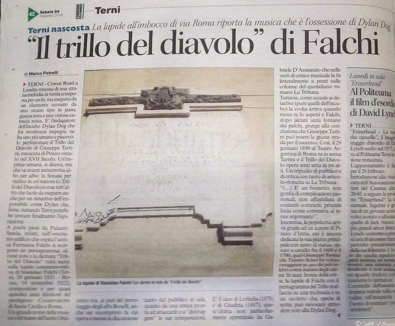 """La storia de """"Il trillo del diavolo"""" di Falchi raccontata dal giornalista ternano Marco Petrelli sulle colonne del Corriere dell'Umbria"""